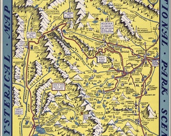 Poster, Many Sizes Available; Funny Map Of Rocky Mountain National Park 1948