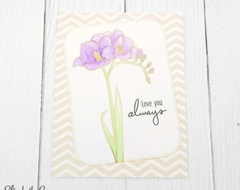 Mothers Day Card, Card For Mom, Happy Mothers Day, Freesia, Watercolor, Handmade Greeting Cards, Altenew