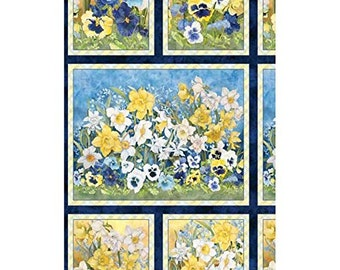 """Walking in Sunshine~Panel 24"""" x 44""""~Cotton Fabric by Wilmington Prints Fast Shipping,F710"""