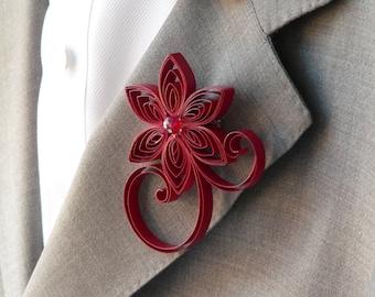 Cherry Red Boutonniere, Dark Red Buttonhole, Cherry Wedding Boutonniere, Crimson Wedding Flowers Buttonhole, Scarlet Fake Flower Boutonniere