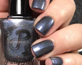 Blue Gray Nail Polish, Holographic Nail Lacquer, Indie Nail Polish, Fall Nail Color, Gift For Her, Vegan, We Both Reached For The Gun