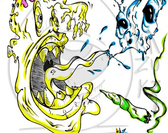 Print from a original freehand drawing  poster interior decoration matte gloss street art Collateral effect Kazuki