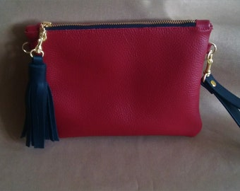 Red Leather Clutch, with leather wristlet and tassel, evening purse, zipper purse., leather purse, leather handbag,  womens handbag
