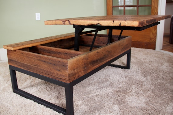 Coffee Table Reclaimed Barn Board Lift Top Wood Metal