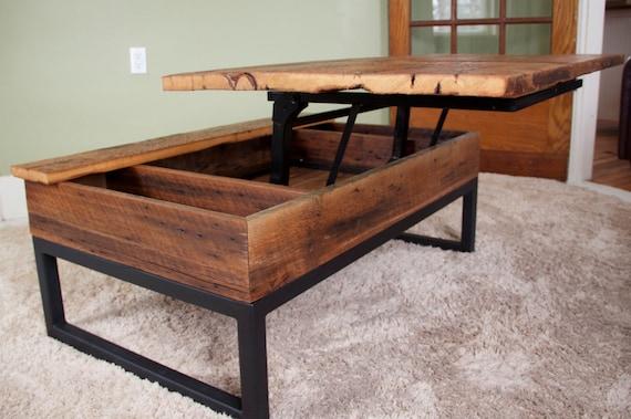 Coffee table reclaimed barn board lift top wood metal for Barn board coffee table