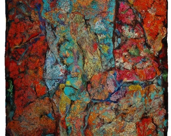 """Felted abstract textured painting """"Rust""""2, Felt wall art, Painting with wool, Textile art, Fiber art, OOAK"""