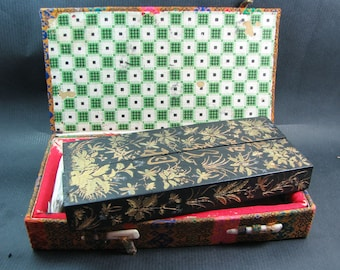 FREE SHIPPING. A large vintage ink stick - decorated and boxed - Circa 1960's.