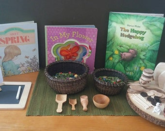 Spring Nature Table and Scarf Basket for Margo