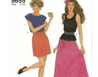 Simplicity 9655 1990s Misses Pullover Crop Top Tank Top Pull On Shorts Skirt Vintage Women Sewing Patterns Size 10 to 20 Bust 32 to 42 UNCUT