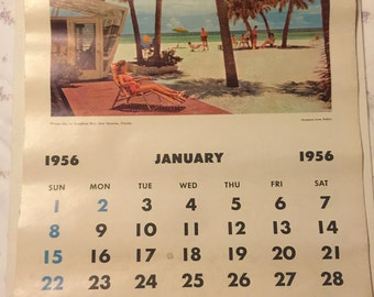 """Standard Oil Wall Calendar 1956 - 20"""" X 13"""""""