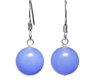 10mm Genuine Dyed Sky Blue Jade Gemstone Bead / Ball / Sphere 925 Sterling Silver Drop / Dangle Earrings Pair