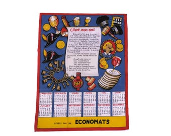 1971 Birthday Gift. French Vintage Advertising Calendar. Printed Tea Towel Calendar.