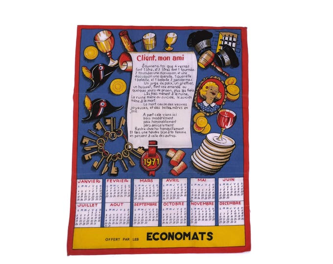 1971 Birthday Gift. French Vintage Advertising Calendar. Printed Tea Towel Calendar.