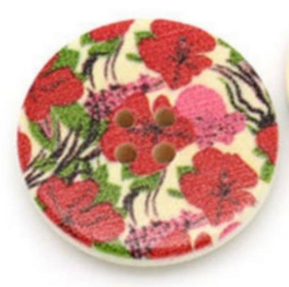 BBR30226 - 2 BUTTONS ROUND 30 MM WOODEN PATTERN WITH COLORS