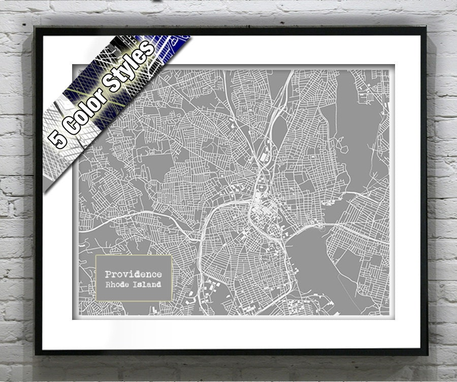 Providence Rhode Island Blueprint Map Poster Art Print Several Sizes ...