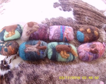 Felted soap savers (each with felted on pictures or scenery),  8 to choose from
