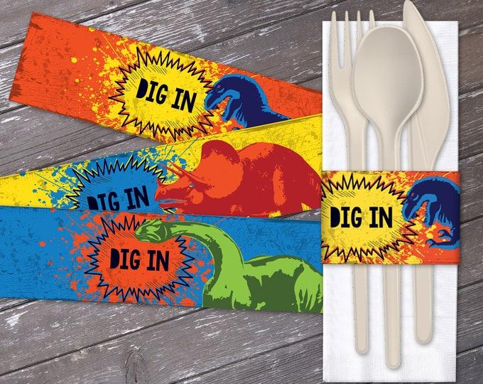 Dinosaur Party Napkin Wraps - Dig In Napkin Wrapper, Dinosaur Party, Dinosaur Birthdays | Editable Text - DIY Instant Download PDF Printable