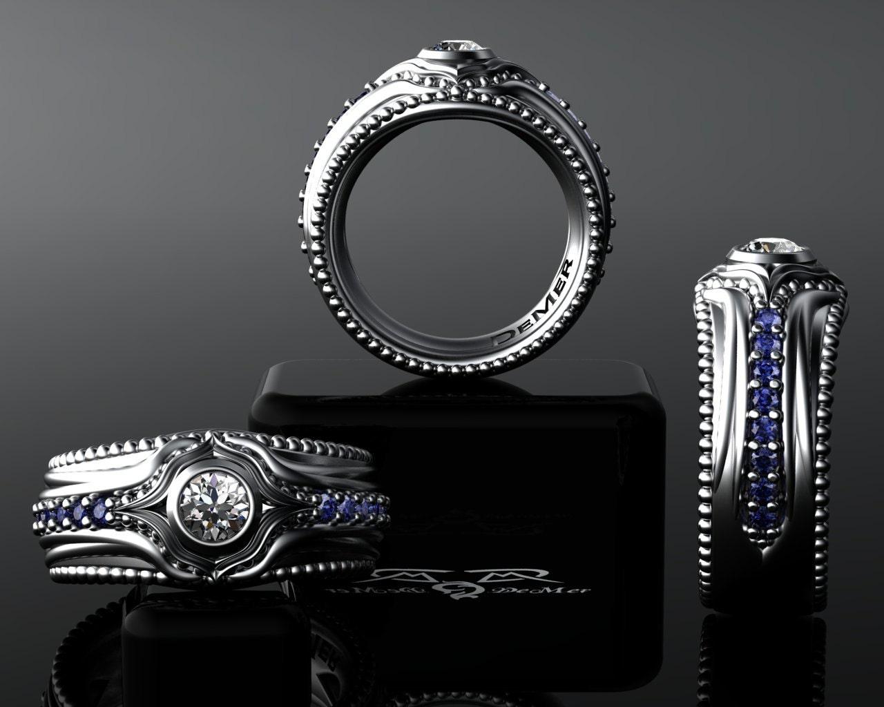18kt heavy grey white gold sapphire colorless diamond Baroque