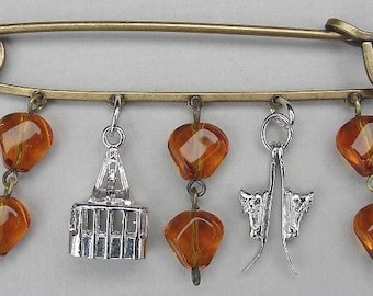 Kilt or Scarf Pin, Mixed Metals, Vintage Sterling  Ski Charms
