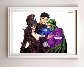 Superman Batman Wonder Woman Trinity Halloween Art Print Poster Super Hero Digital Art DC Comics