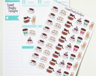 Kawaii Coffee Lovers Stickers!  Perfect for Erin Condren Life Planner, MAMBI/Happy Planner, Plum Planner, Etc.