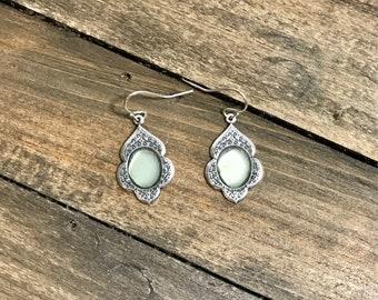 Sea foam sea glass silver dangle earrings