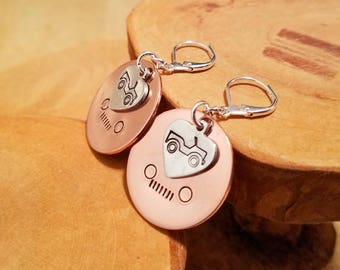 Headlights and Hearts Jeep lovers hand stamped and polished layered copper and aluminum leverback earrings