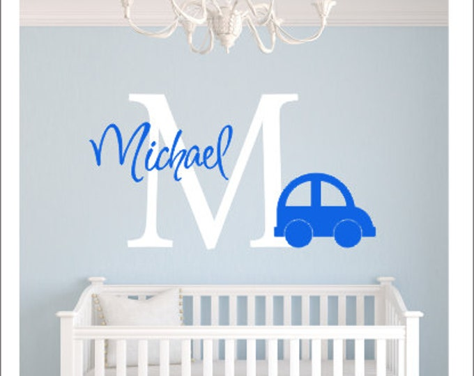 Personalized Car Decal Vinyl Wall Decal Kids Baby Children Wall Decal Car Nursery Decal Transportation Nursery Decor Boys Vinyl Wall Decal
