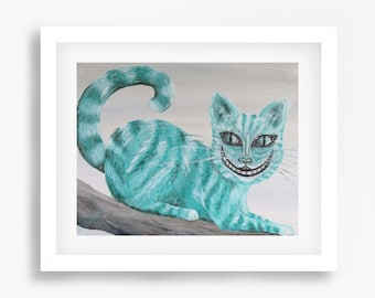 Cheshire Cat Art, Cheshire Cat Print, Alice in Wonderland, Alice in Wonderland Wall Art, Cheshire Cat Painting, Alice in Wonderland Painting