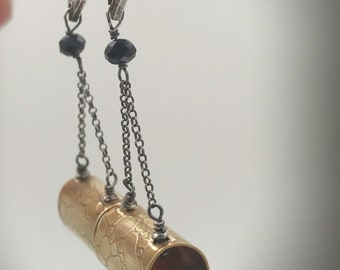 One of a kind, Sterling and brass, post and dangle earrings