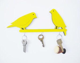 Key hook, yellow home decor, wall key holder, decorative key hook, decorative  wall hook, birds wall hook