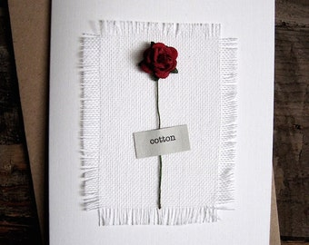 2nd Anniversary Keepsake COTTON Card. Cotton Fabric with a Single Red Rose. Wife Husband Second Anniversary Gift Size A6: 15x10.5cm