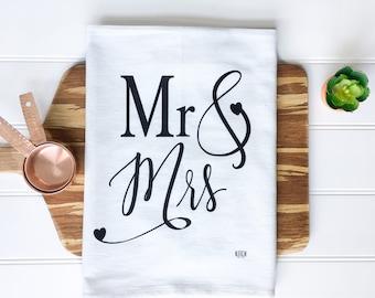 Tea Towel - Mr and Mrs Tea Towel Wedding Shower Gift Wedding Gift Newlywed Gift Bridal Shower Gift Kitchen Towel Farmhouse Decor