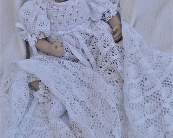 baby Andrea christening gown crochet pattern, infant thread crochet pattern, baby blessing gown, baby baptism dress, baby crochet pattern