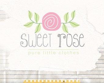 Premade business logo, Flower logo, logo template, premade logo design, rose logo, photographer logos, baby boutique logos