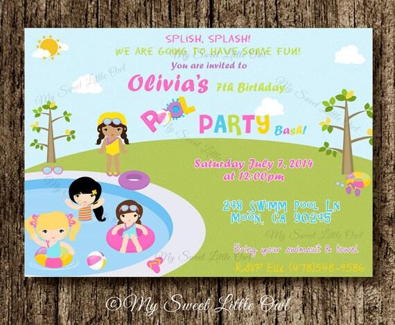 Invitacion de cumplea os para fiesta en la pileta - Cumpleanos en piscina ...