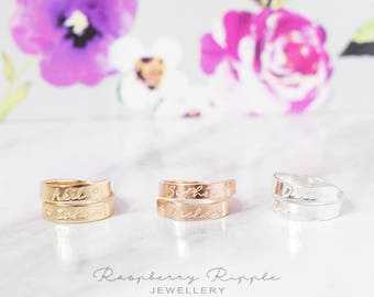 Sterling Silver, Rose Gold filled and Gold Filled adjustable wrap around ring personalised twisted band hand stamped mum ladies womens