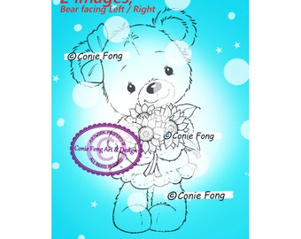SALE Digital Stamp, Digi Stamp, digistamp, Conie Fong, Coloring Page, Birthday, Teddy Bear, Birthday, Mother's Day, Get Well, Sun Flower