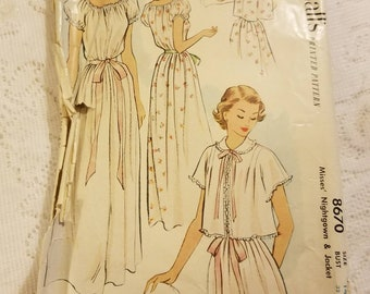 Vintage McCall's Pattern #8670 Misses Nightgown and Jacket Size 14