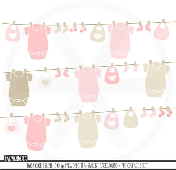 Baby Clothesline Clipart. Baby Girl Clothes Clip Art. Pink