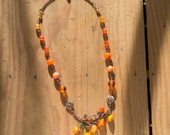 Serenade of autumn orange and copper necklace