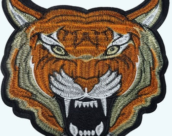 Embroidered Tiger Head Animal Patch Applique, Tiger Badge for Sewing and Fashion