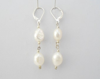 White Pearl Dangle Earrings, Genuine Pearl Earrings,Sterling Silver Leverback Earrings, Bridal earrings, Wedding jewelry,  Bridesmaid Gift