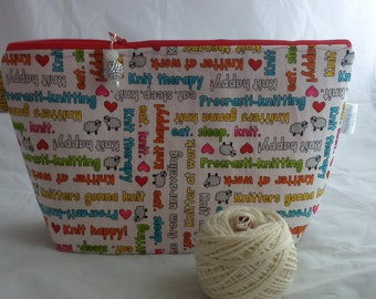 Knitting words wedge bag, knitting bag,knitters gift bag, project bag