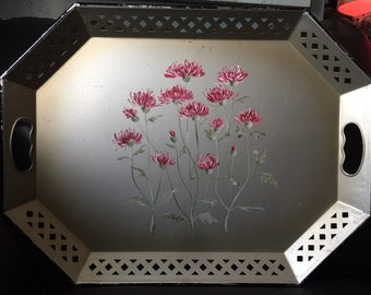 50s Hand Painted Metal Nashco Tray with Pink Carnations RARE