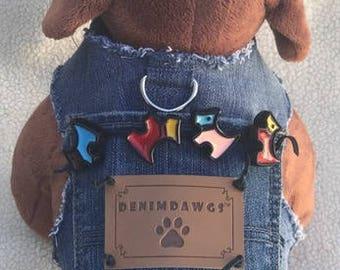 Denim Dog Vest Dog Jacket, Dog Harness, Dog Outfit, Dog vest with terrier decor