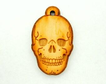 Skull Wood Charm Pendant-- Baltic Birch Wood Skull Charm Pendant (WJ-38)