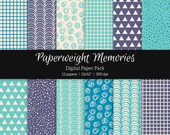 "Digital patterned paper - Feeling Blue -  digital scrapbooking - patterned paper - 12x12"" 300dpi  - Commercial Use"