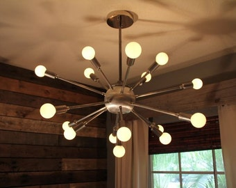 """Raw Steel and Chrome 31"""" Wide Industrial Sputnik Vintage Inspired Chandelier with Classic Modern Candelabra Globe Bulbs"""