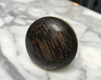 Round Wood Simulated Knob, Antique Gold Tone Metal Casing Tiger Wood Grain Button Shaped Knobs, Item #578750876